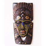 beaded face wooden african tribal mask