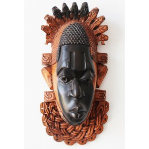 Black and Brown Face wooden african tribal mask