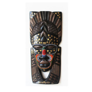 chevron forehead wooden african tribal mask