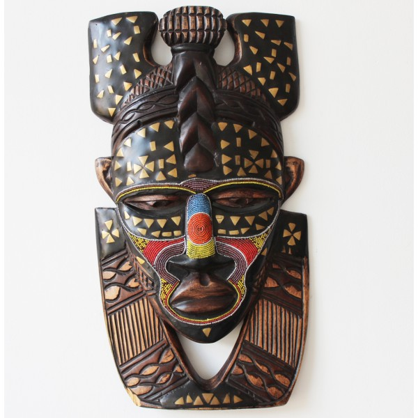 Beaded face wooden african masks kazeem the tomb raider