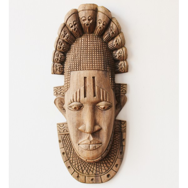 brown wooden african tribal mask