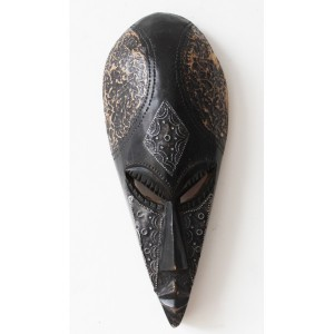 Small long black wooden african tribal mask