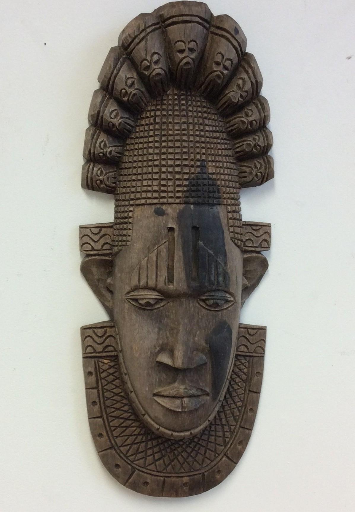 Antique Leaf Wooden African Tribal Mask