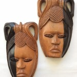 Black & Brown African Wooden Tribal Mask