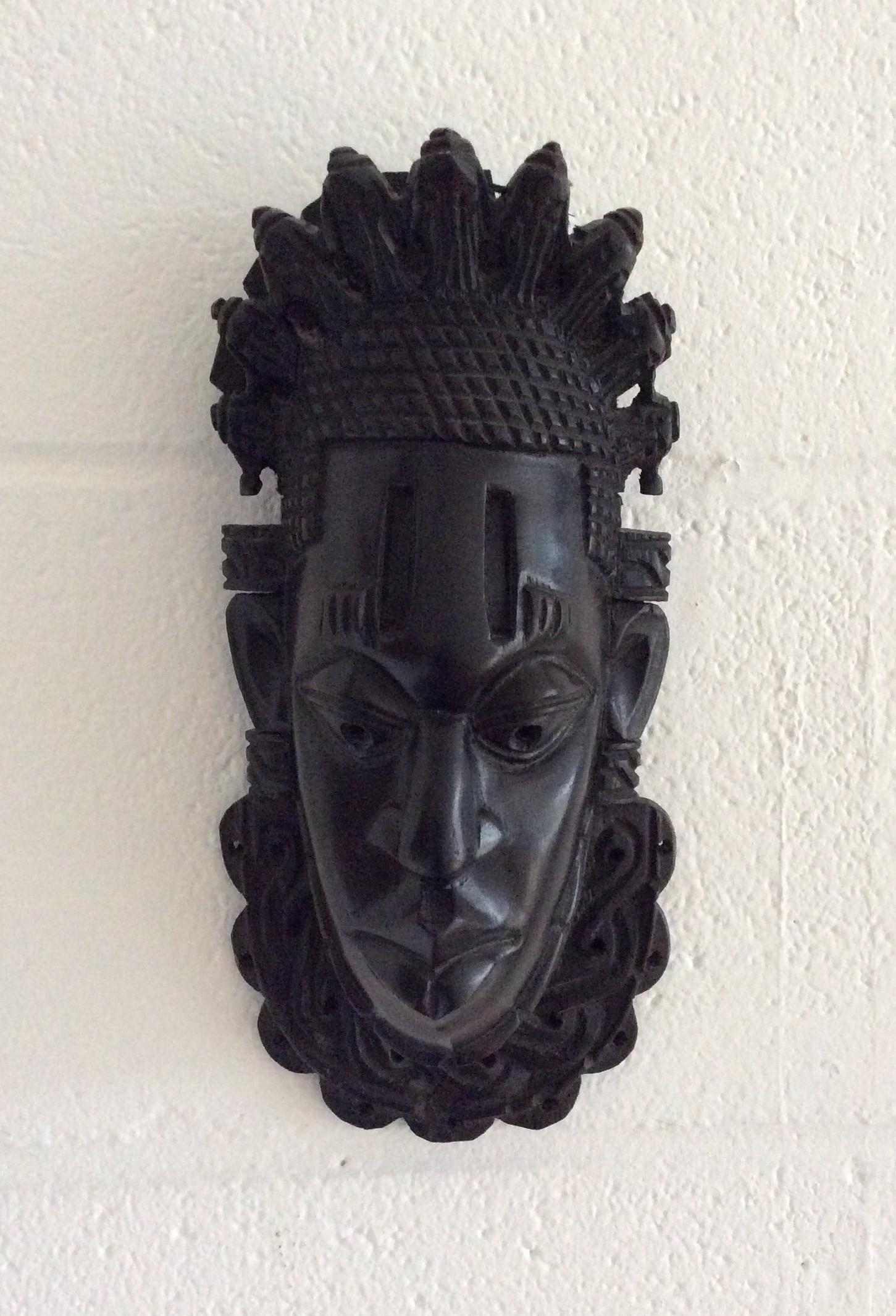 Black African Wooden Tribal Mask