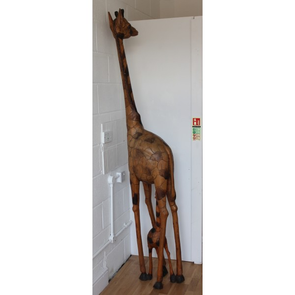 Wooden African Carving of Giraffe